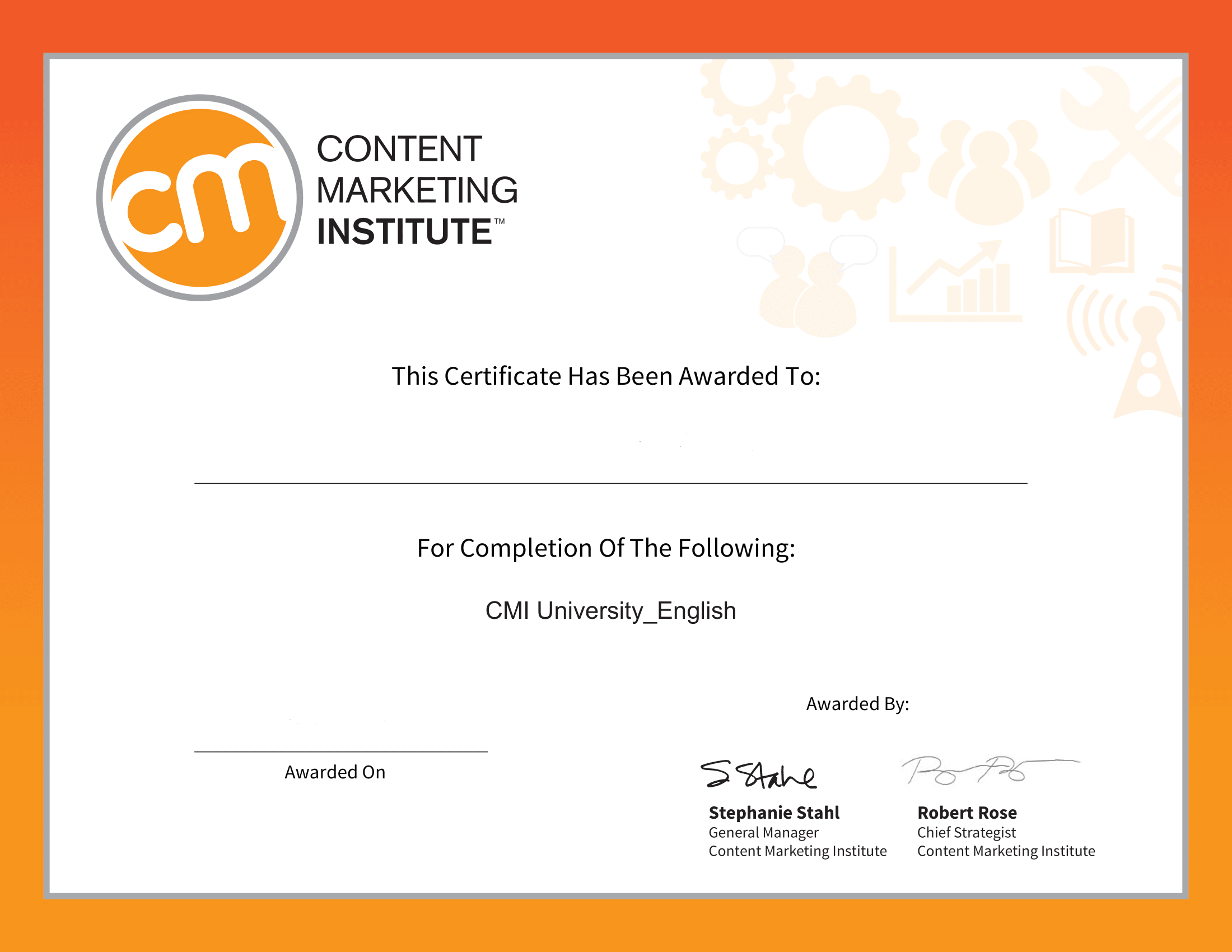 Content Marketing University Certificate