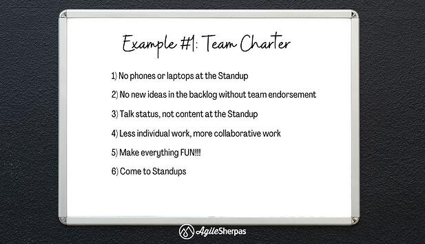Example #1 of a an Agile team charter