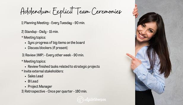 Example of a an Agile team charter for meetings
