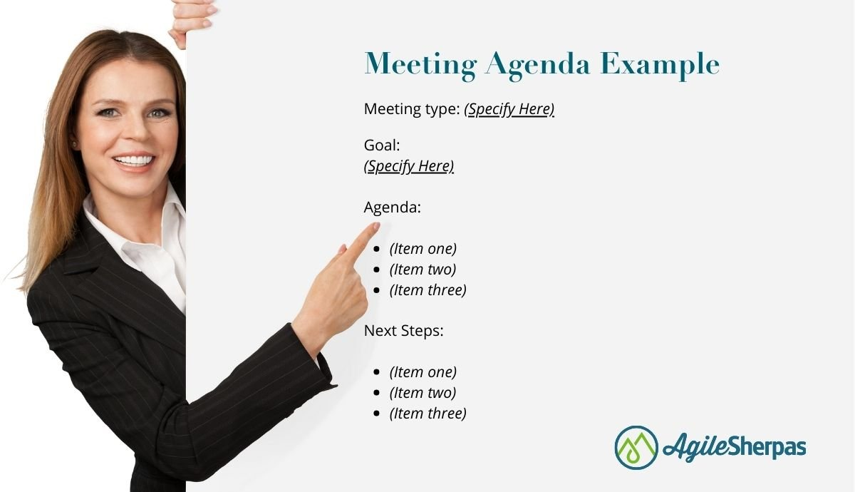 A template for preparing a meeting agenda.