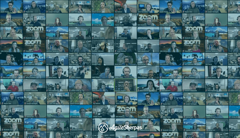 A mosaic image containing a great number of small photos of people part of a remote agile marketing team using a popular video conferencing tool