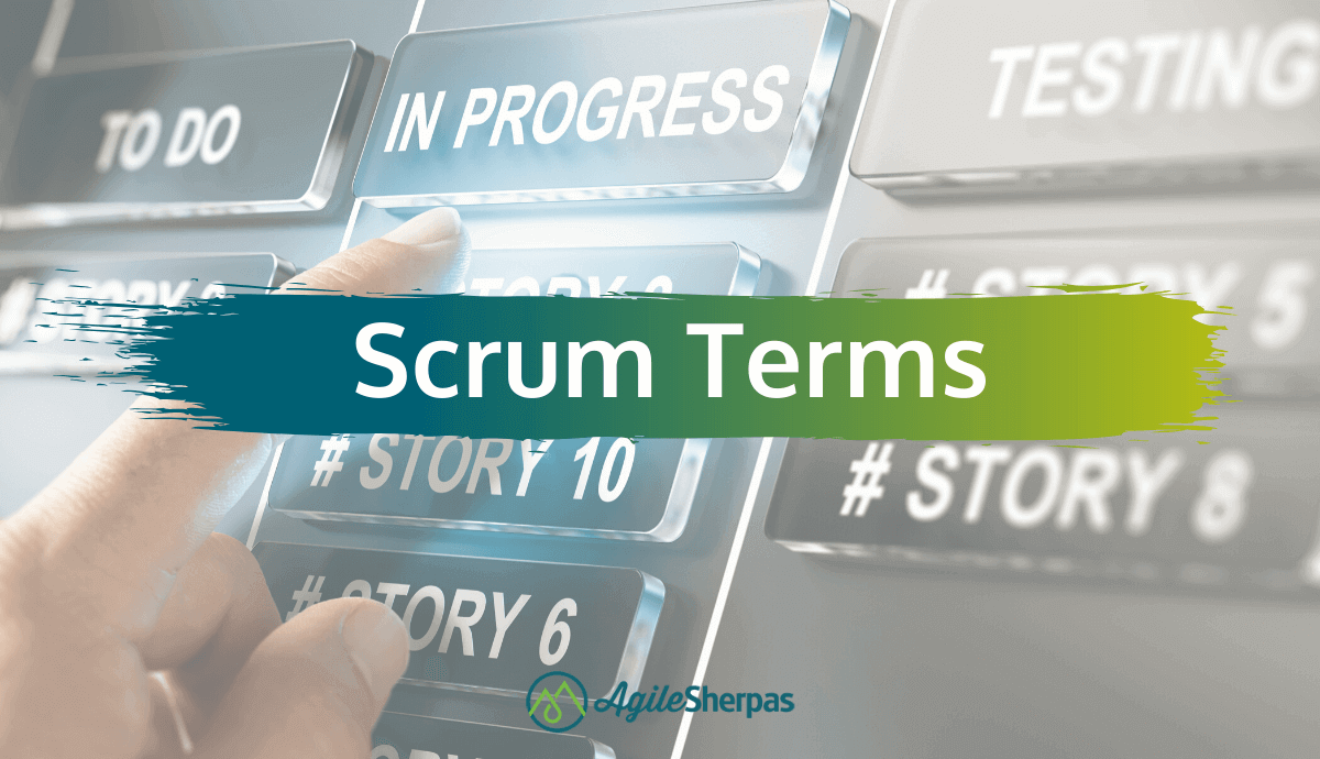 """A banner saying """"scrum terms"""" on a background of black buttons."""