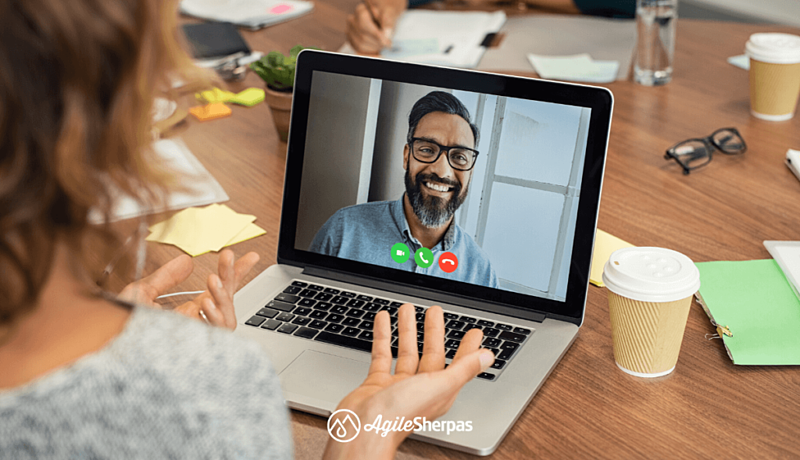 Video call between two remote agile marketing team members