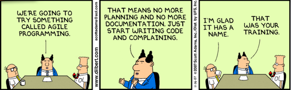 agile no planning dilbert cartoon